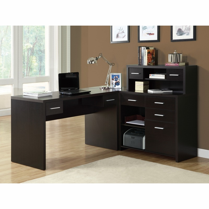 Monarch Specialties Cappuccino Hollow Core L Shaped Home Office Desk I 7018 Hover To Zoom