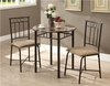 Monarch Specialties - Cappuccino Marble / Bronze Metal 3Pcs Bistro Set - I 3045