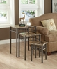 Monarch Specialties - Cappuccino Marble / Bronze Metal 3Pcs Nesting Table Set - I 3041