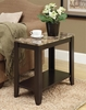 Monarch Specialties - Cappuccino / Marble Top Accent Side Table - I 3114