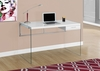Monarch Specialties - Computer Desk 48L Glossy White Tempered Glass - I-7209