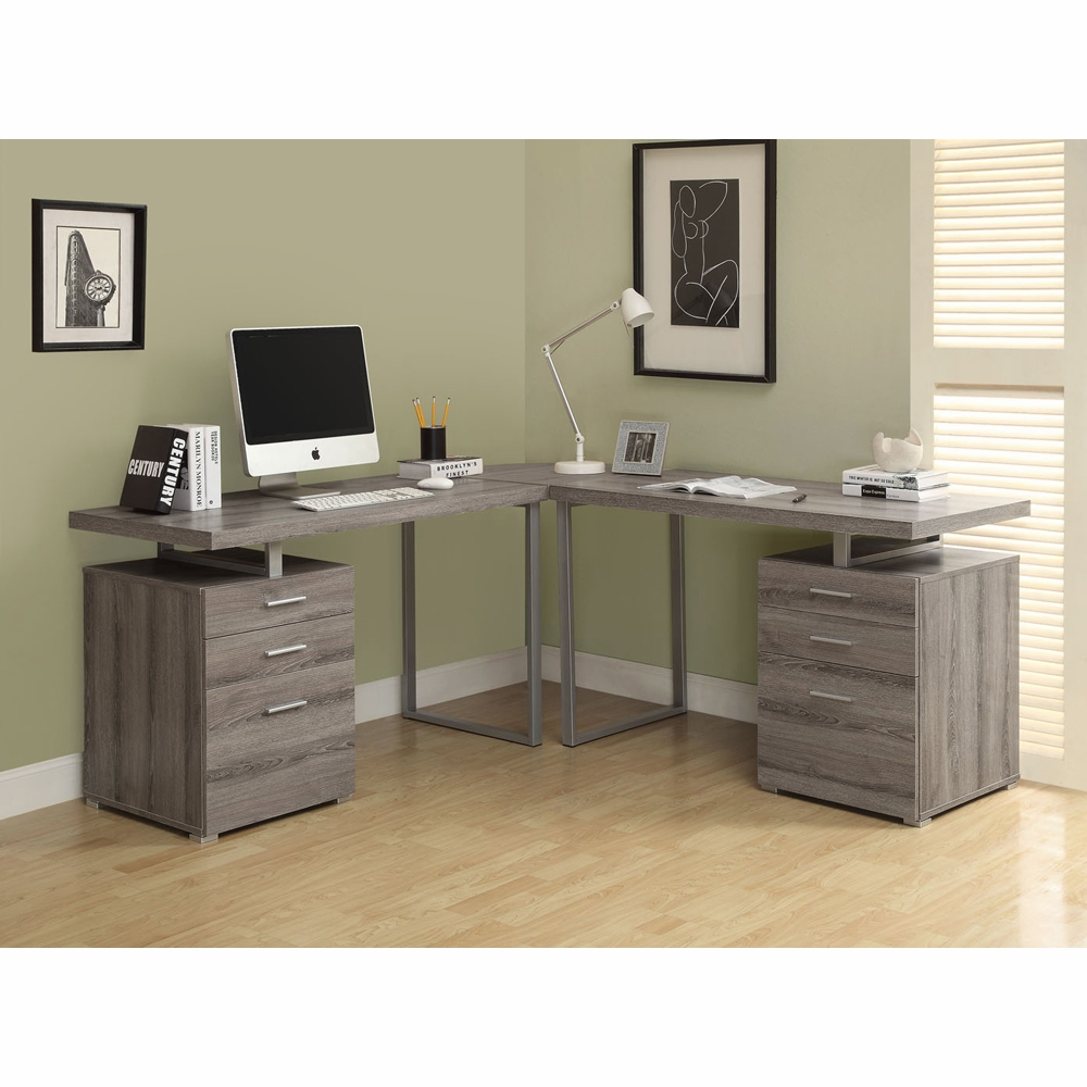 Peachy Monarch Specialties Computer Desk Dark Taupe Reclaimed Look L Shaped Corner Desk I 7326 3 Home Interior And Landscaping Eliaenasavecom