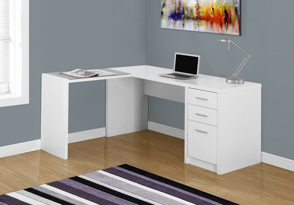 Monarch Specialties Computer Desk White Corner With Tempered Gl I 7136 Hover To Zoom
