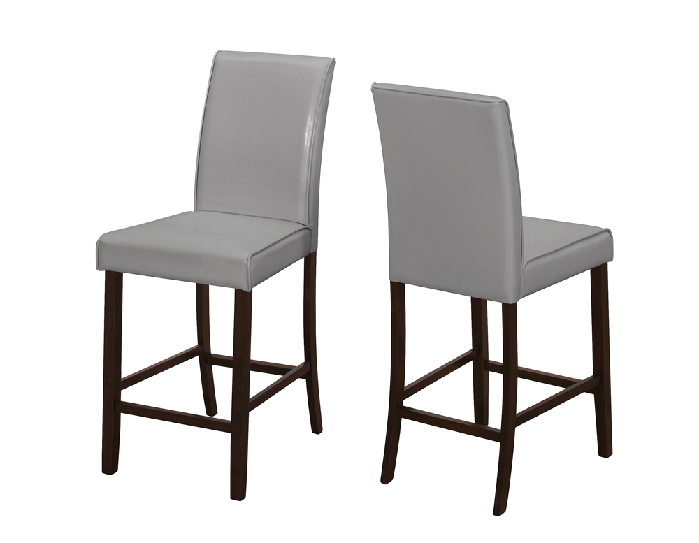 Monarch Specialties Dining Chair 2 Pieces Grey Leather