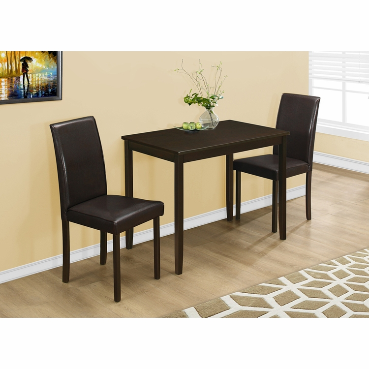 Monarch Specialties - Dining Set 3Pcs Set Cappuccino Brown Parson Chairs - I-1015