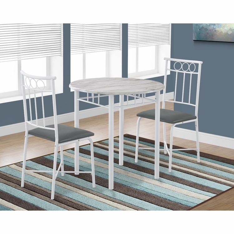 Monarch Specialties - Dining Set 3Pcs Set White Marble White Metal - I-3085