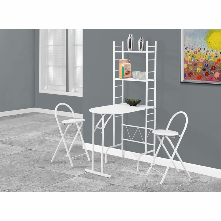 Monarch Specialties - Dining Set 3Pcs Set White Top White Metal - I-1010