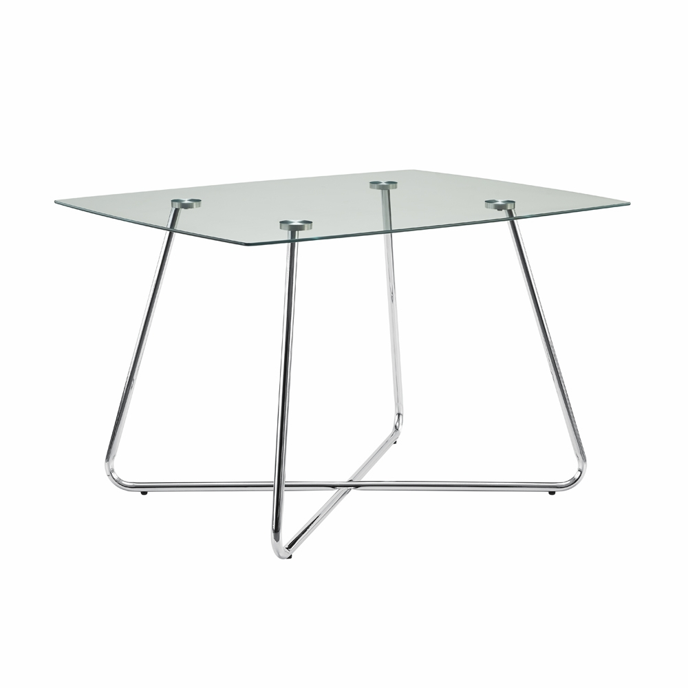 Monarch Specialties Dining Table 40dia Chrome With 8mm Tempered Glass I 1070