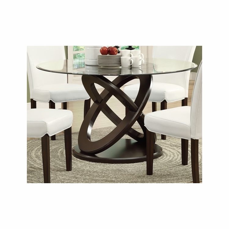 Monarch Specialties Dining Table 48dia Espresso With Tempered Gl I 1749
