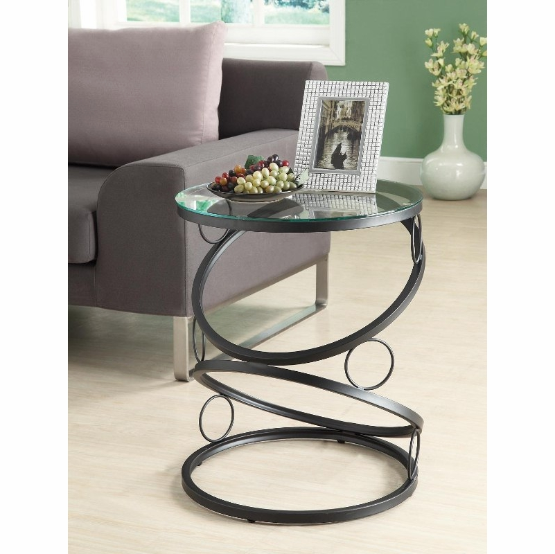 Monarch Specialties   Matte Black Metal Accent Table With Tempered Glass    I 3317