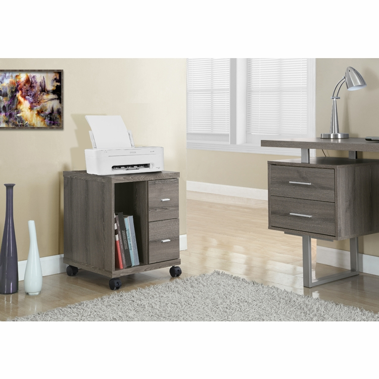 Monarch Specialties - Office Cabinet Dark Taupe With 2 Drawers On Castors - I-7056