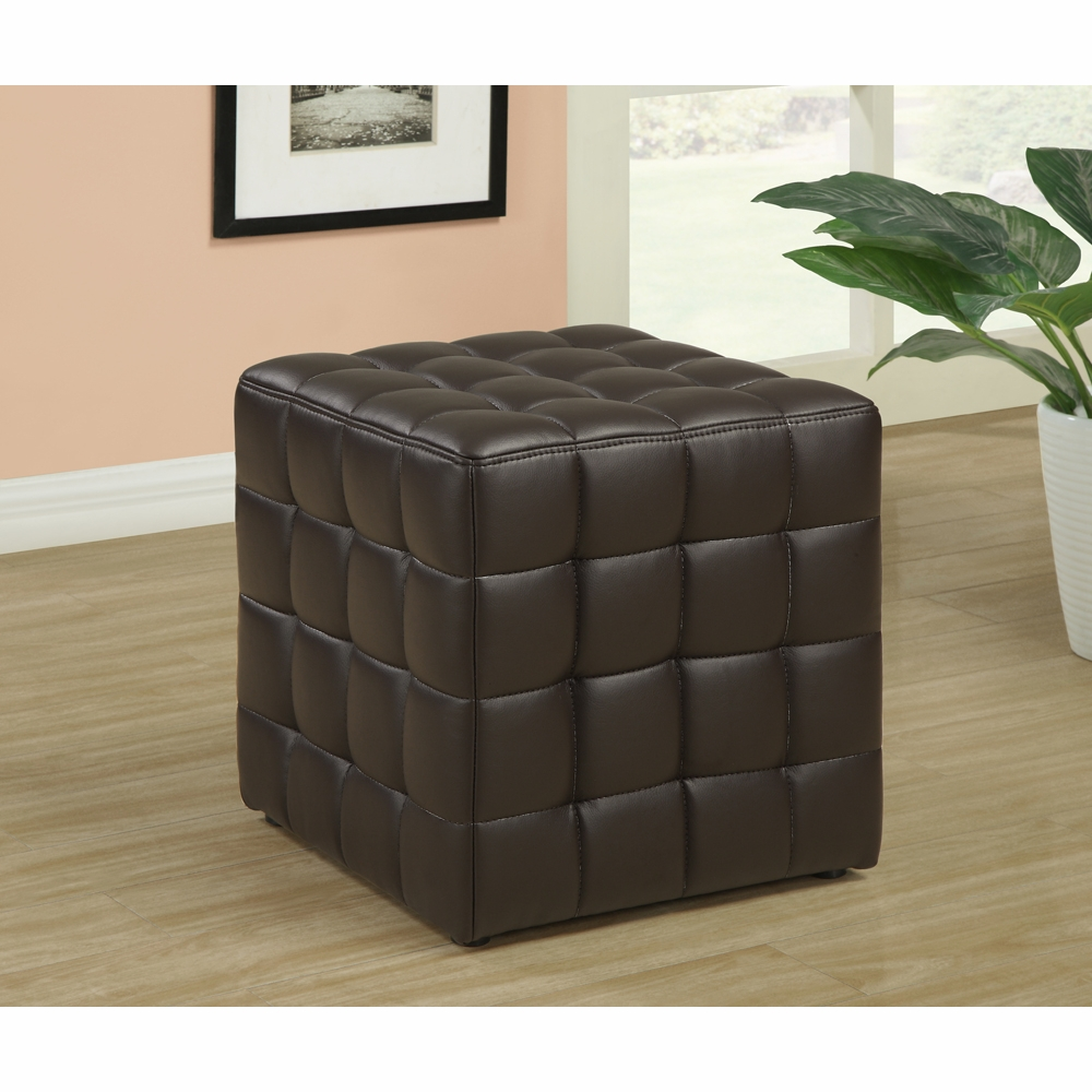 Awesome Monarch Specialties Ottoman Dark Brown Leather Look Fabric I 8980 Evergreenethics Interior Chair Design Evergreenethicsorg