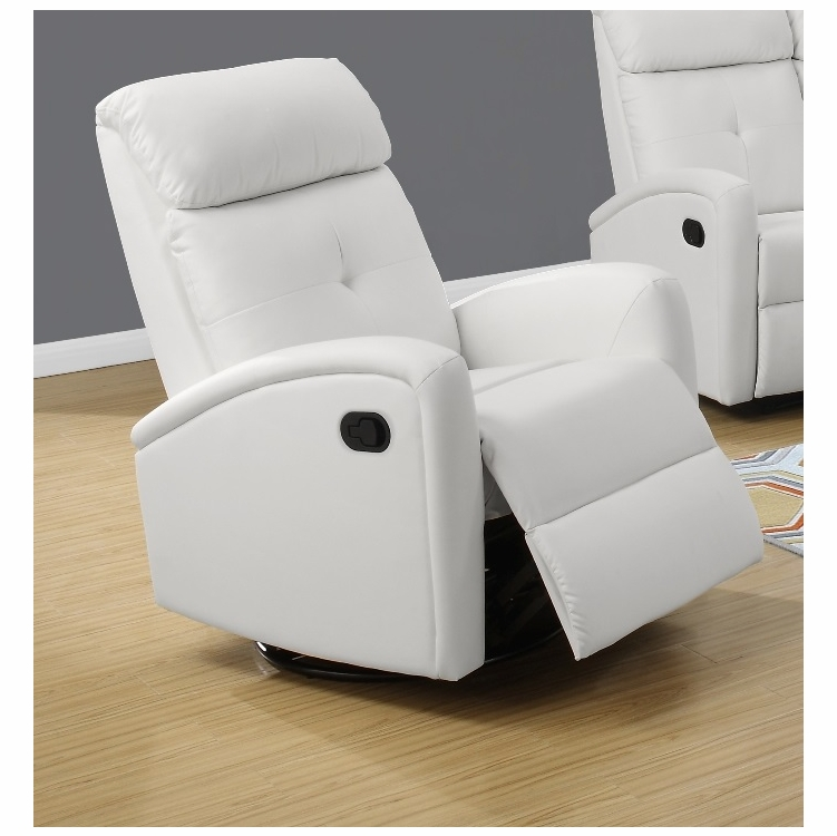 Awesome Monarch Specialties Recliner Swivel Glider White Bonded Leather I 8088Wh Bralicious Painted Fabric Chair Ideas Braliciousco