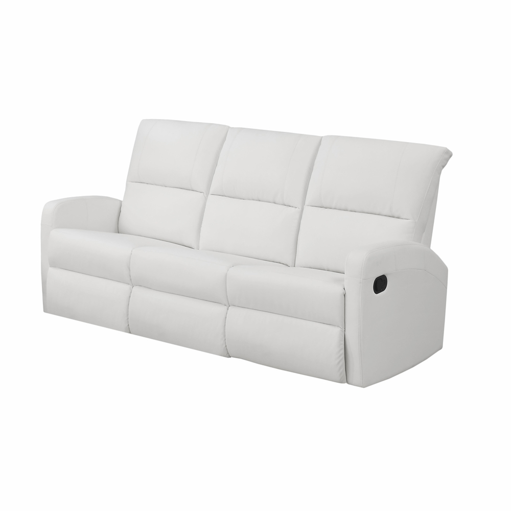 Excellent Monarch Specialties Reclining Sofa White Bonded Leather I 84Wh 3 I 84Wh 3 Bralicious Painted Fabric Chair Ideas Braliciousco