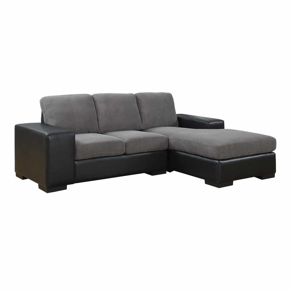 Monarch Specialties - Sofa Lounger Dark Brown Corduroy Brown Leather Look -  I-8200BB