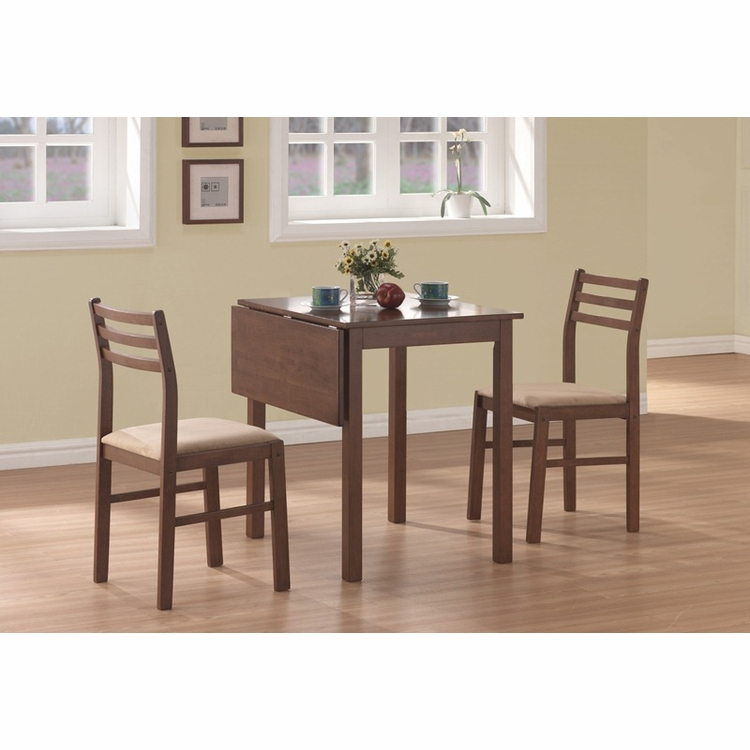Monarch Specialties - Walnut 3Pcs Solid-Top Drop Leaf Dining Set - I 1079