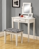 Monarch Specialties - White 2Pcs Vanity Set With A Zebra Fabric Stool - I 3390