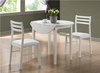 "Monarch Specialties - White 3Pcs Dining Set With A 36""Dia Drop Leaf Table - I 1008"