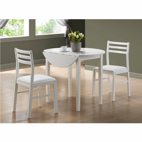 """Monarch Specialties - White 3Pcs Dining Set With A 36""""Dia Drop Leaf Table - I 1008"""