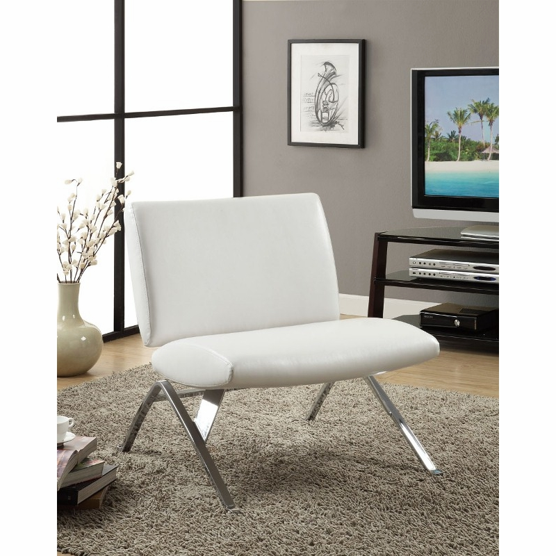 Fantastic Monarch Specialties White Leather Look Chrome Metal Modern Accent Chair I 8074 Machost Co Dining Chair Design Ideas Machostcouk