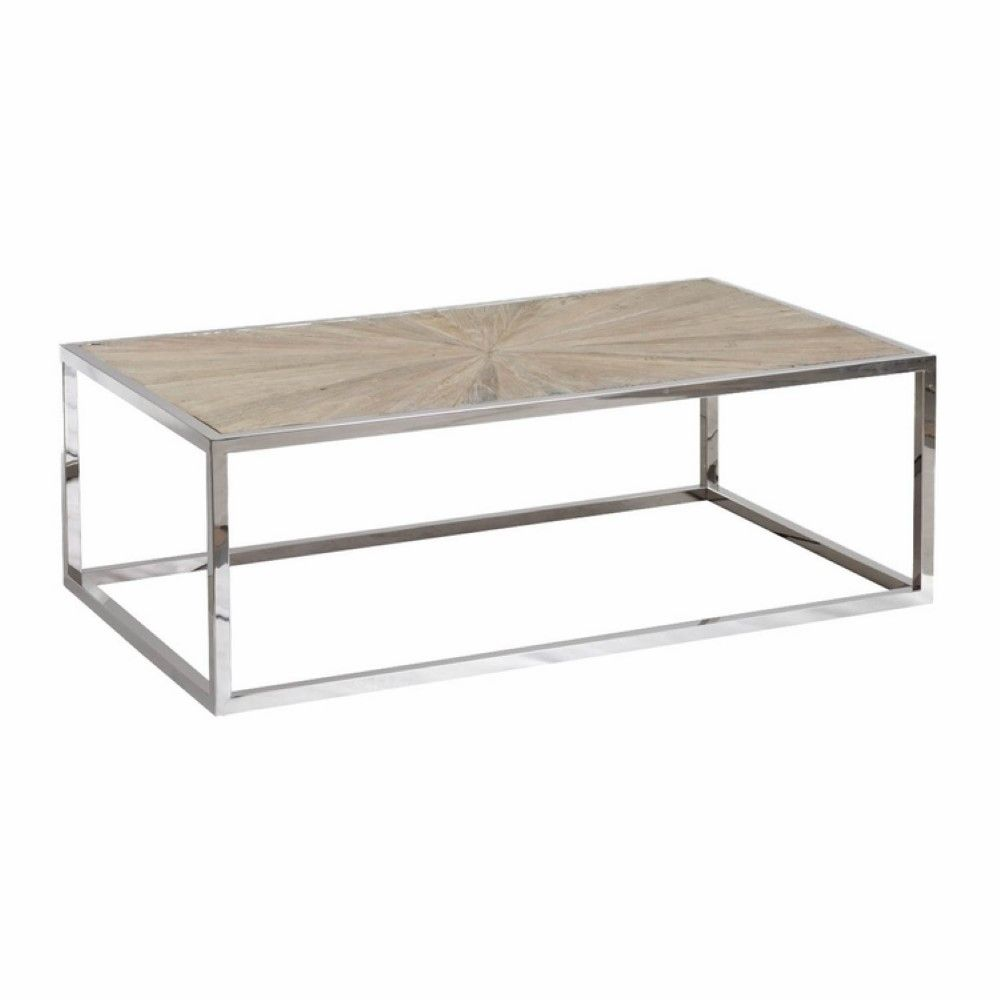 Orient Express Furniture Parquet Coffee Table 8030 Sgry Elm Stl