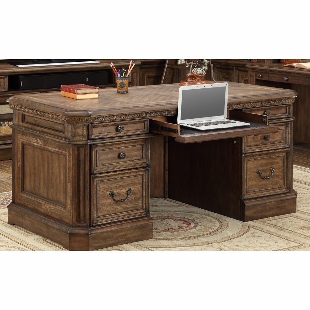 Hover to zoom - Parker House - Aria Double Pedestal Executive Desk In Antique