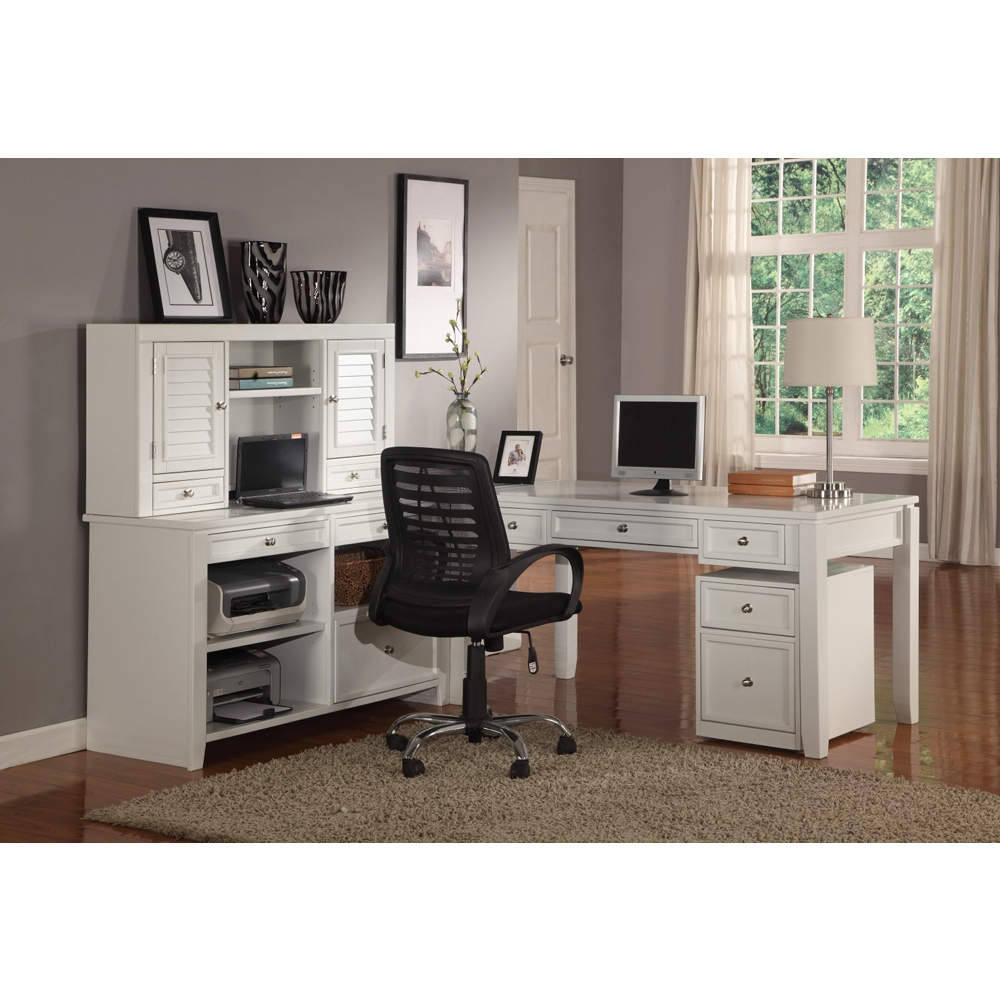 buy popular 6c5b8 95f98 Parker House - Boca 5PC L Shaped Desk And Credenza Set in Cottage White