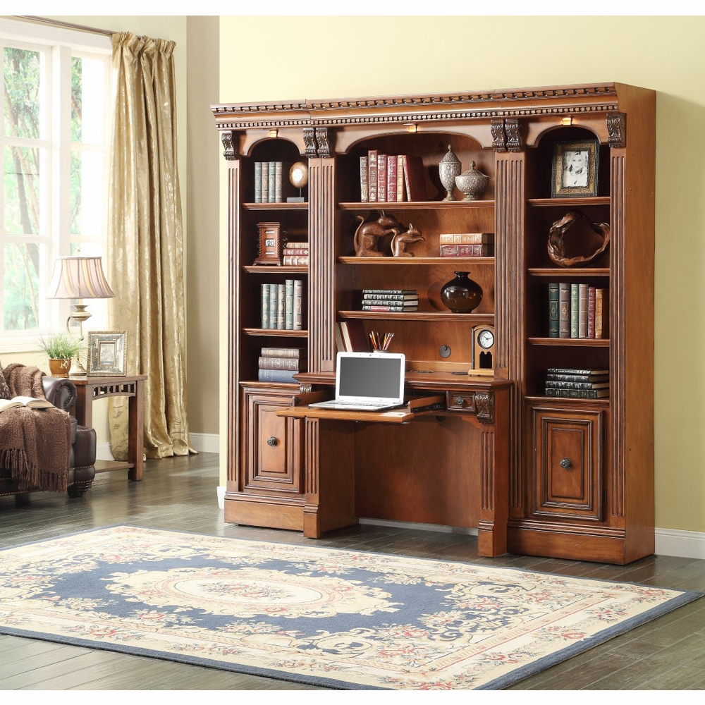 Parker House Huntington 4pc E Saver Bookcase Library Wall Set In Antique Vintage Pecan