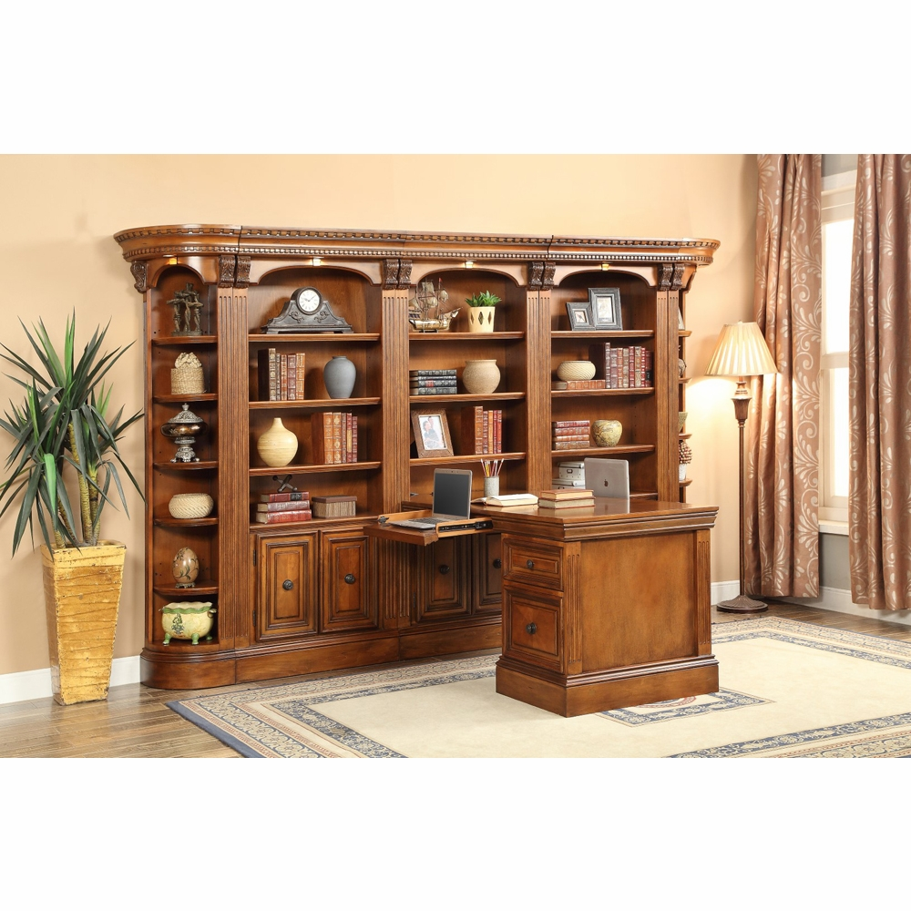 Parker House Huntington 7pc Dual Station Library Wall Set In Antique Vintage Pecan