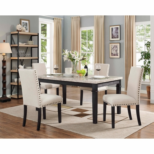 Picket House Furnishings - Bradley 5Pc Dining Set Table And 4 Upholstered Chairs in Dark Walnut - DGS100F5PC