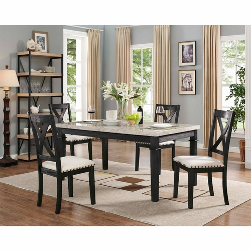 Picket House Furnishings - Bradley 5Pc Dining Set Table And 4 X Back Side Chairs in Dark Walnut - DGS100W5PC