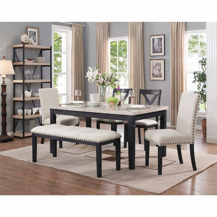 Picket House Furnishings - Bradley 6PC Dining Set-Table, 2 Upholstered Side Chairs, 2 X-Back Side Chairs & Bench in Dark Walnut - DGS100FWB6PC
