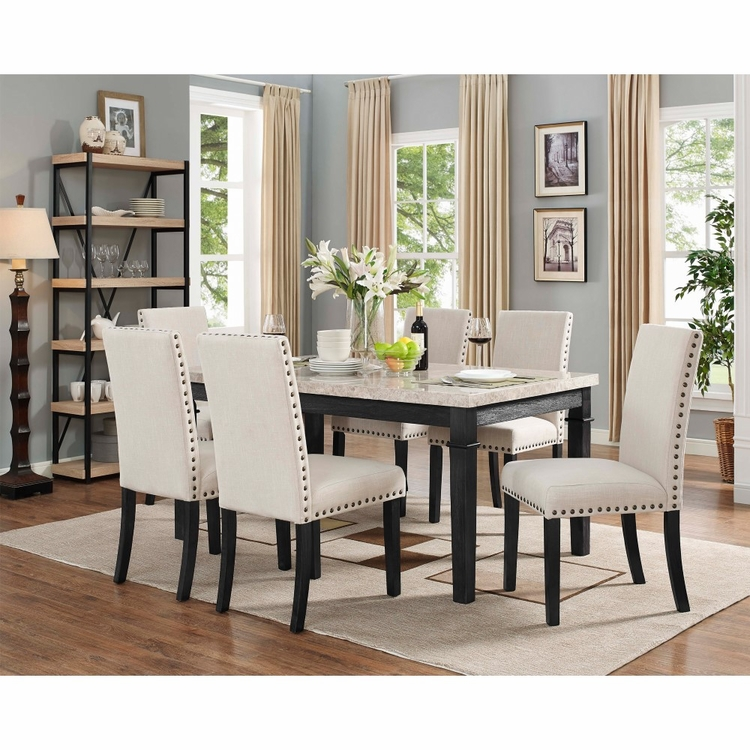 Picket House Furnishings - Bradley 7Pc Dining Set Table And 6 Upholstered Side Chairs in Dark Walnut - DGS100F7PC