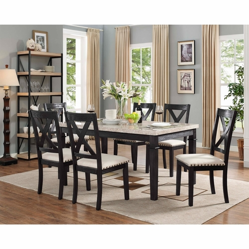 Picket House Furnishings - Bradley 7Pc Dining Set Table And 6 X Back Side Chairs in Dark Walnut - DGS100W7PC