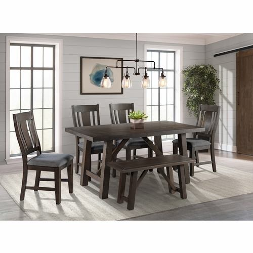 Picket House Furnishings - Carter 6Pc Dining Set Table Four Chairs And Bench in Dark Gray - DCS1006PC