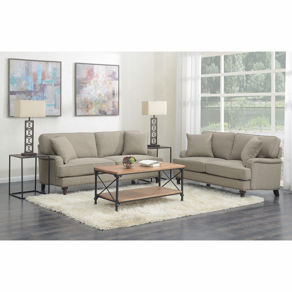 picket house furnishings - cassandra 2pc living room set-sofa & loveseat in  smoke - ubb0912pc