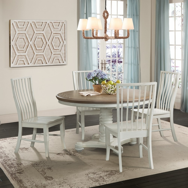 Picket House Furnishings - Cayman 5Pc Dining Set Table And Four Side Chairs in Brown White - DBS7005PC