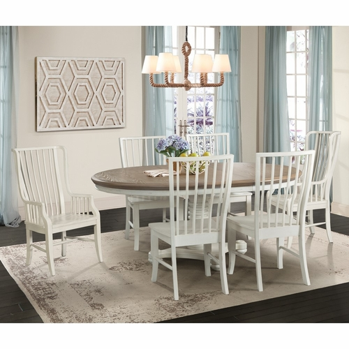 Picket House Furnishings - Cayman 7Pc Dining Set in Brown White - DBS7007PC