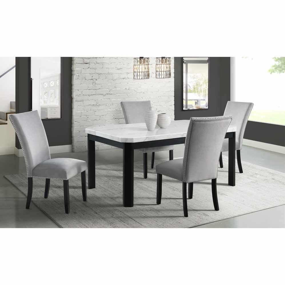 Swell Picket House Furnishings Celine White Marble 5Pc Dining Set Table Four Gray Velvet Chairs Cfc300Gy5Pc Unemploymentrelief Wooden Chair Designs For Living Room Unemploymentrelieforg