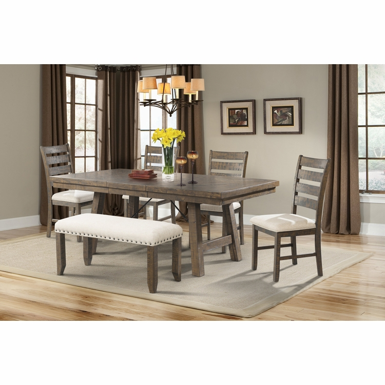 Picket House Furnishings - Dex 7PC Dining Set- Table, 4 Ladder Side Chairs & Bench - DJX150B6PC