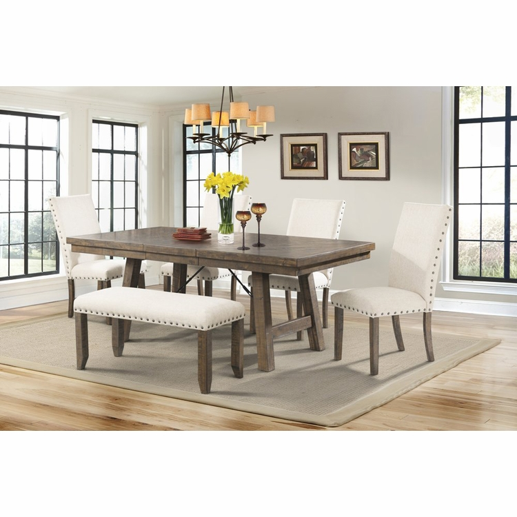 Picket House Furnishings - Dex Dining Table, 4 Side Chairs & Bench - DJX100SB6PC