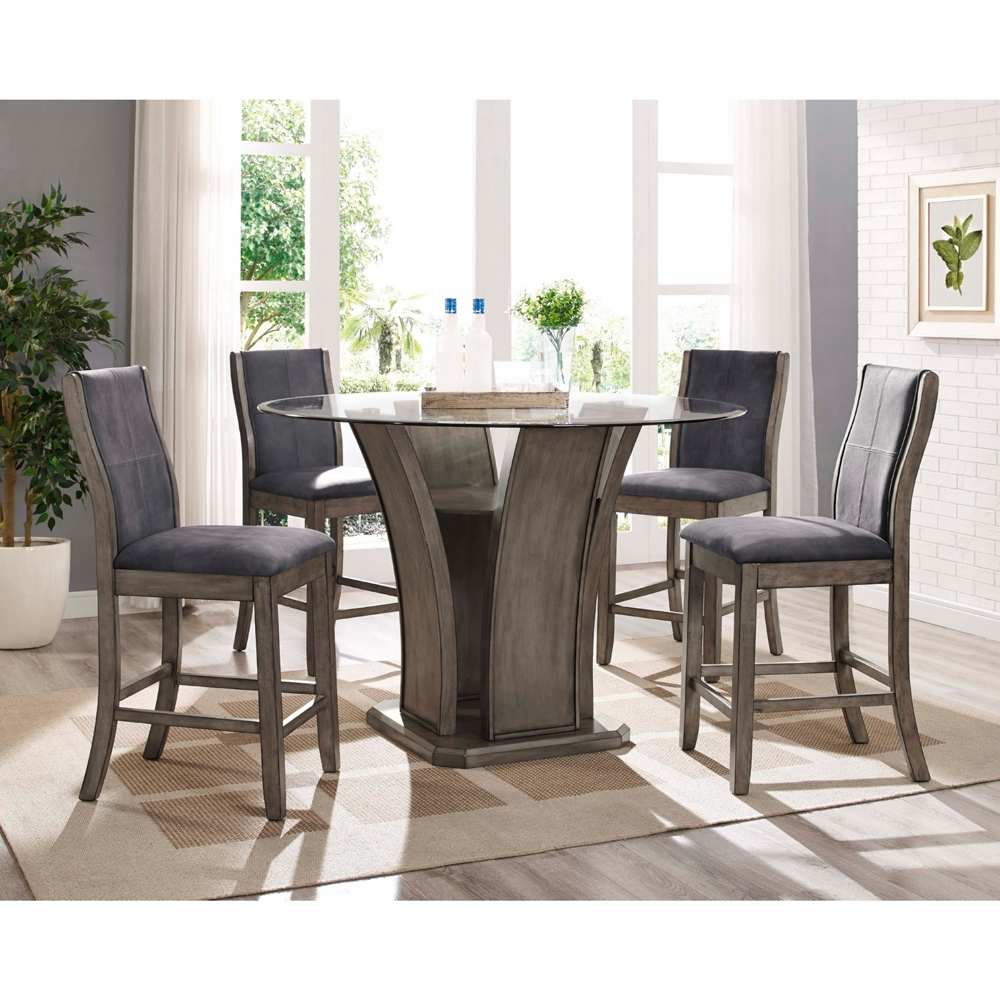 Picket House Furnishings Dylan Round Counter 5pc Dining Set Table 4 Side Chairs Dds100rc5pc