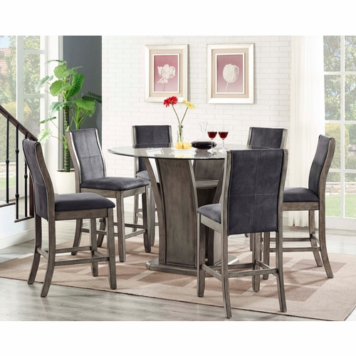 Picket House Furnishings - Dylan Round Counter 7PC Dining Set-Table & 6 Side Chairs - DDS100RC7PC