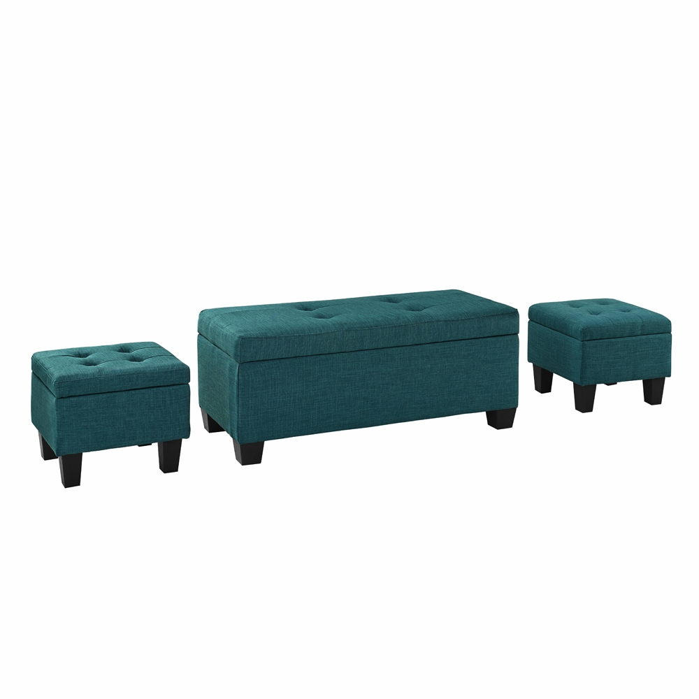 Awesome Picket House Furnishings Everett 3Pk Storage Ottoman In Teal Ueh087100Ca Pabps2019 Chair Design Images Pabps2019Com