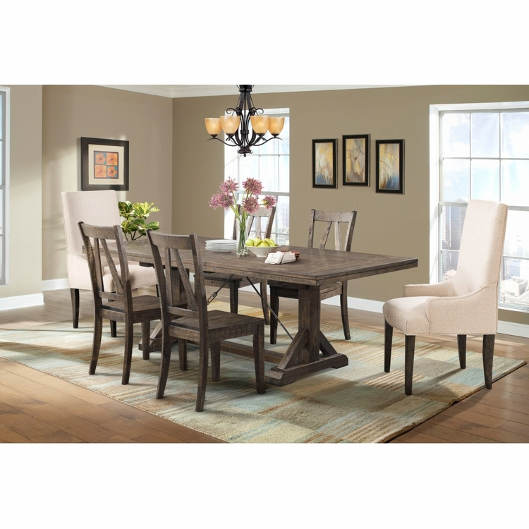 Picket House Furnishings - Flynn Dining Table, 4 Wooden Side Chairs & 2 Parson Chairs - DFN100SP7PC