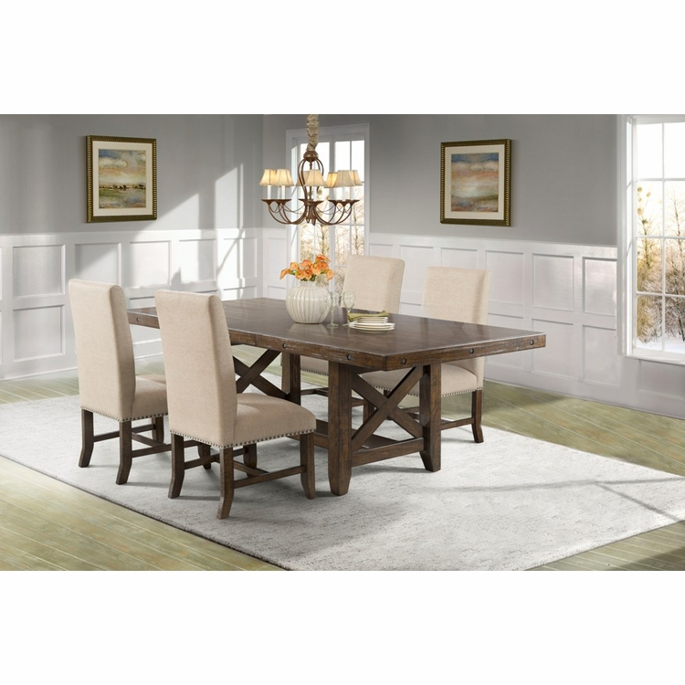 Picket House Furnishings - Francis Dining Table, 4 Fabric Back Side Chairs - DFK100S5PC