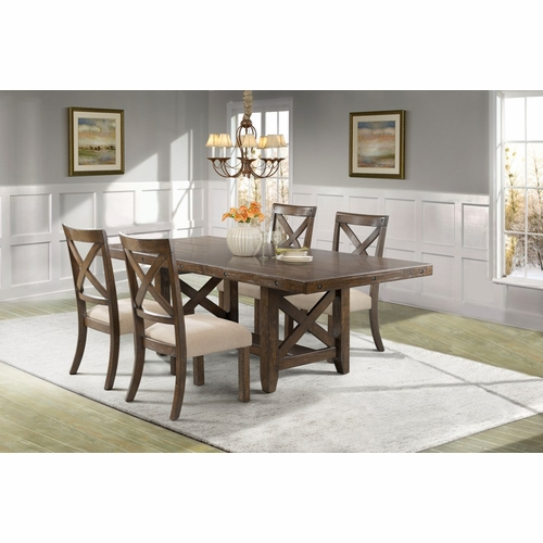 Picket House Furnishings - Francis Dining Table, 4 X-Back Wooden Chairs - DFK100X5PC