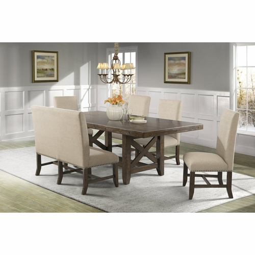 Picket House Furnishings - Francis Table, 4 Fabric Back Side Chairs & Fabric Back Bench - DFK100FB6PC