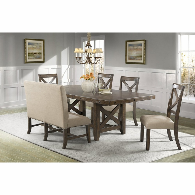 Picket House Furnishings - Francis Table, 4 X-Back Side Chairs & Fabric Back Bench - DFK100XF6PC