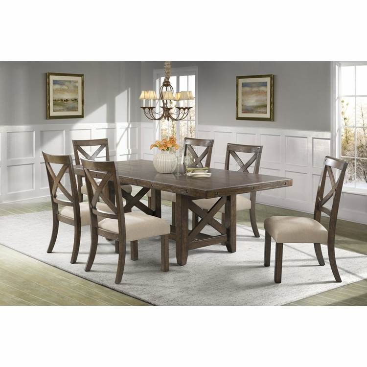 Picket House Furnishings - Francis Table & 6 X-Back Wooden Side Chairs - DFK100X7PC